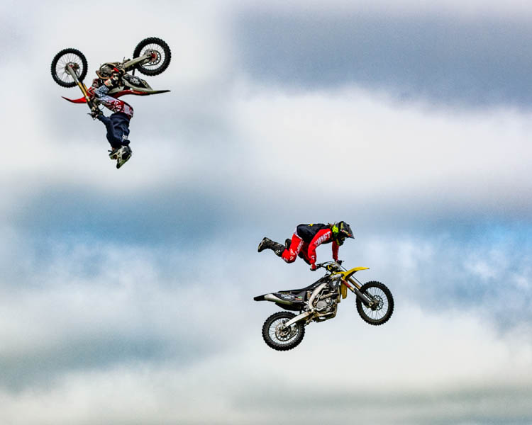 The Broke FMX motorcycle stunt team performing at Duncombe Park country fair